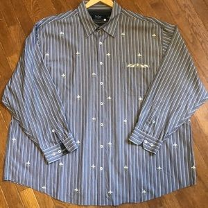 Nat Nast Striped Long Sleeve Shirt Embroidered 3XL